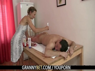 old masseuse takes it is hard from behind