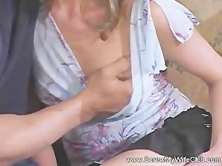 glamorous and slender wife throat drilled and