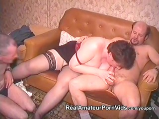 mature chunky housewife is drilled by two fellows