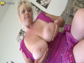 bug breasted aged whore mom getting wet