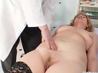 redhead immodest fur pie stretching in gyn clinic