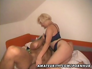 non-professional golden-haired wife eats his