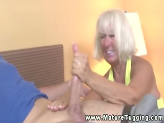 old aged tugging youthful dudes penis in the