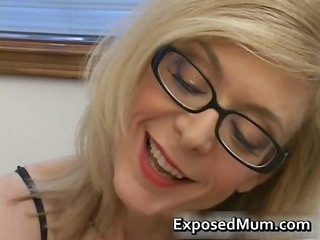 blonde housewife in glasses licking unbending