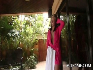 mommy flashing sexy tits and ass outdoor seduces