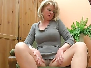 overweight older mamma play with her di...